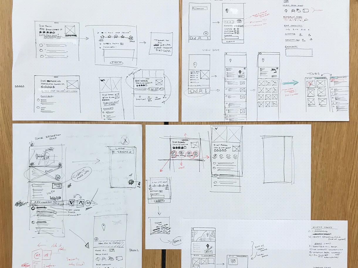 UX design paper sketches